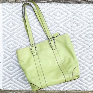 Coach Authentic Lime Green Leather Shoulder Bag